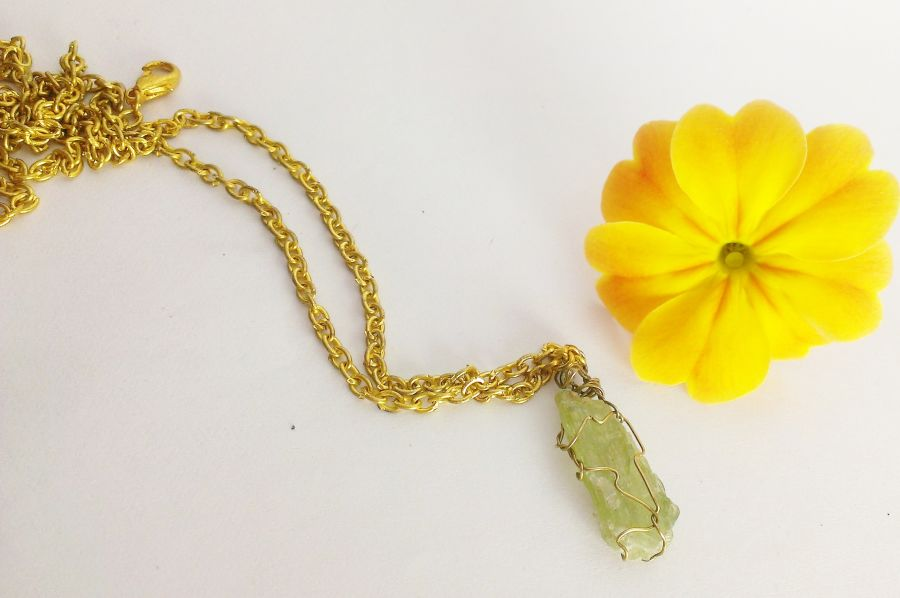 Green Kyanite Wire Wrap Pendant on Gold Chain