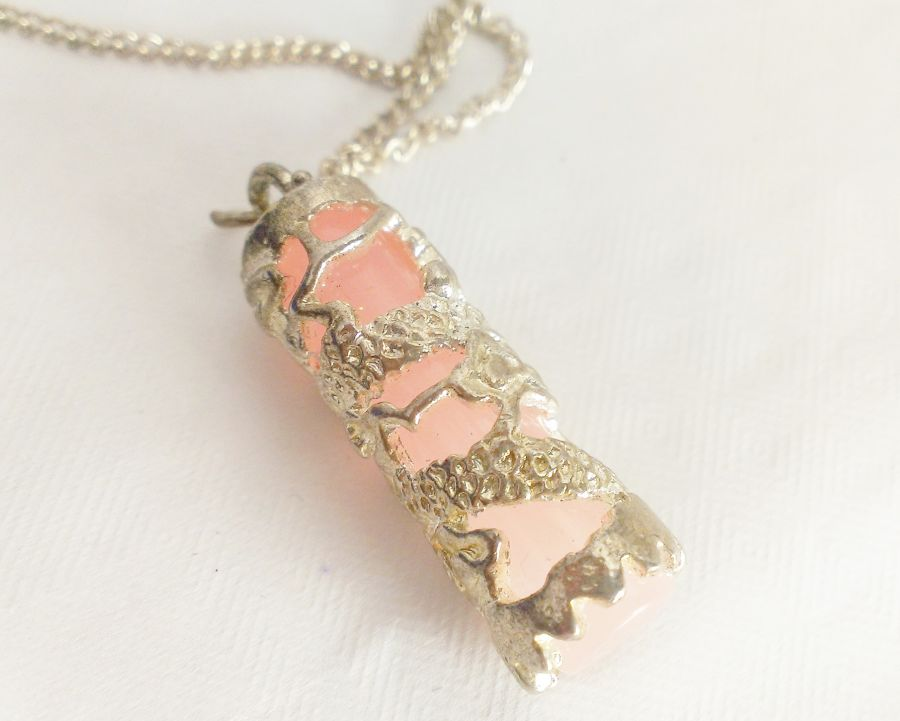 Pink Silver Tone Pendant