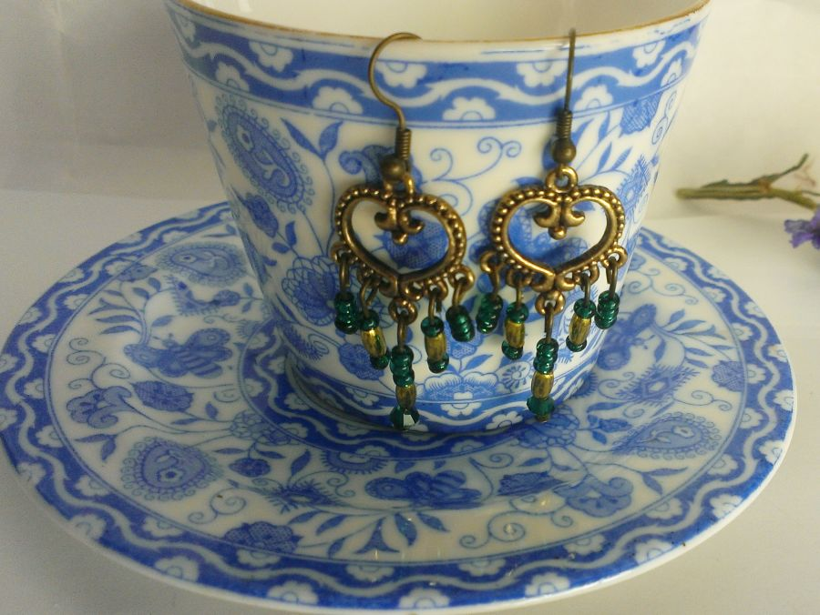 Antique Look Chandelier Earrings Gold and Teal