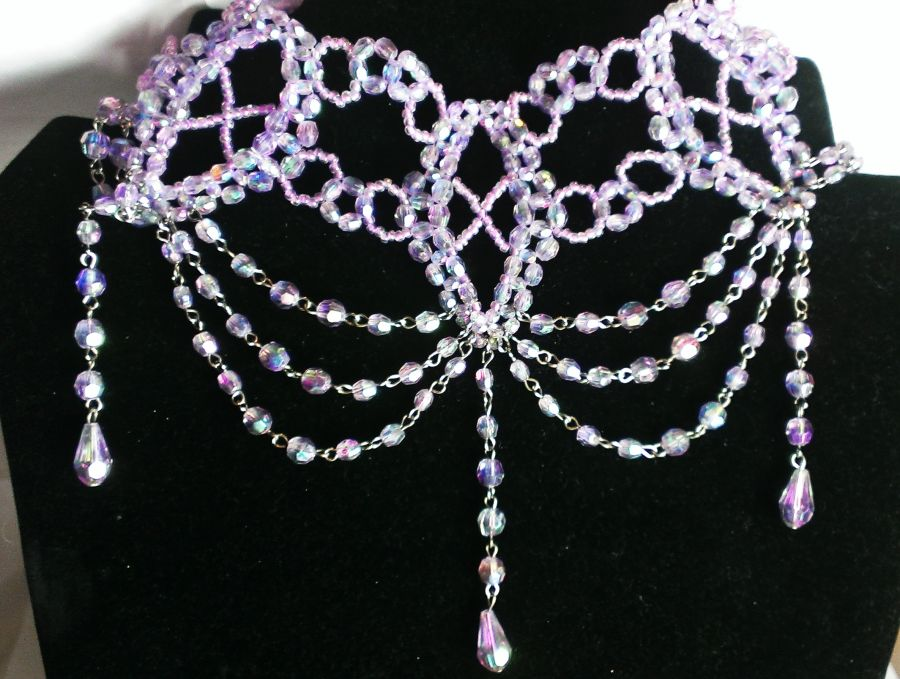 Pink or Lilac Beaded Chokers Choose your Colour
