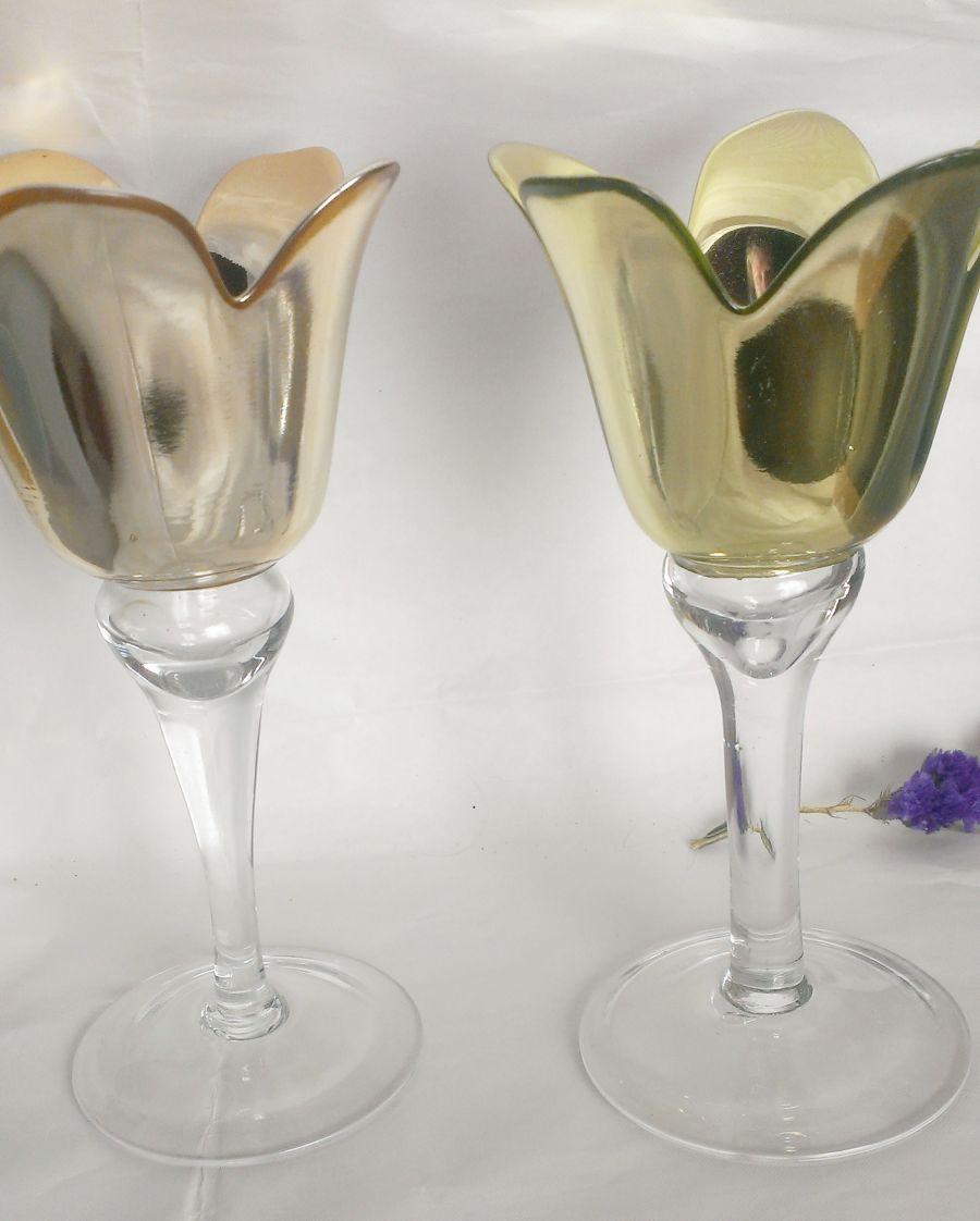 Glass Tealight Holder candle holders 2 diff colours