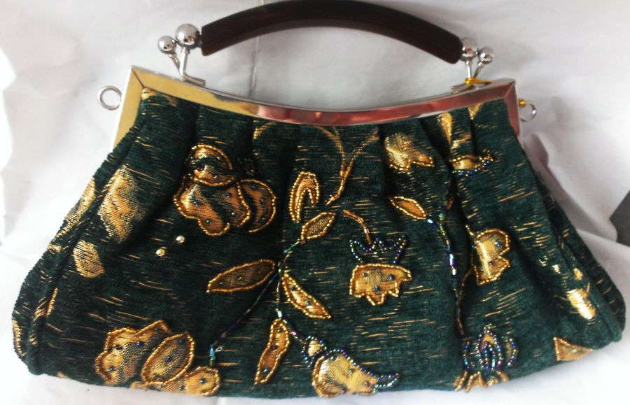 Tapestry Beaded Leaf Green Gold Bag Vintage Look