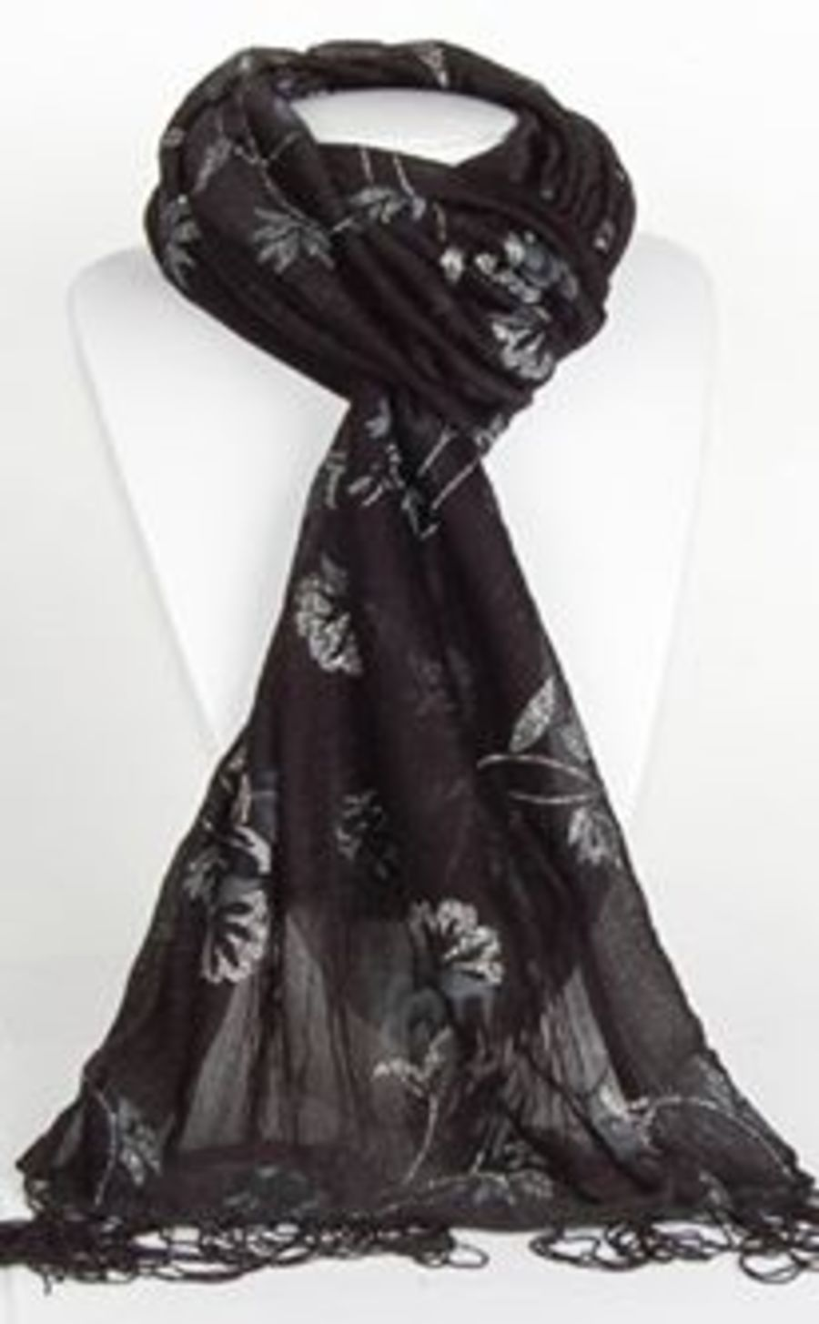 Black Long Scarf Wrap With Glitter Floral
