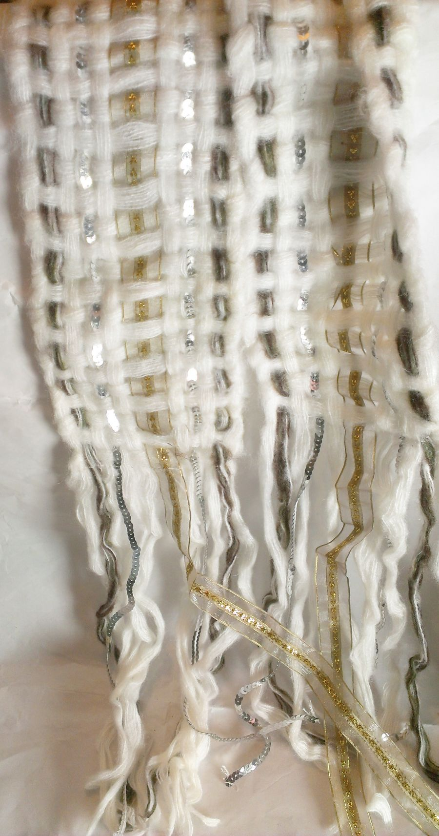 Boho Scarf Cream Knitted Gold Sequin Ribbon Threaded