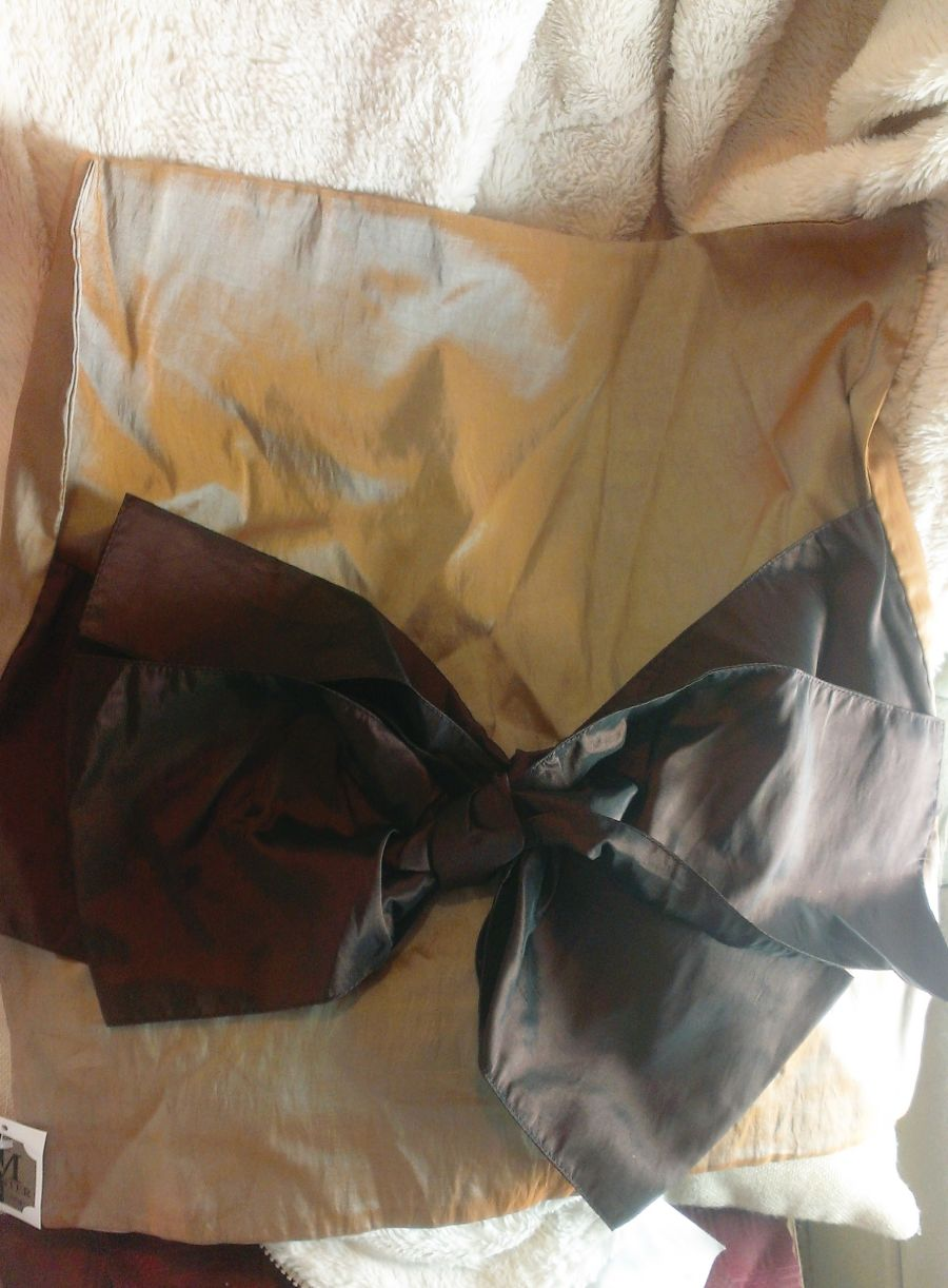 Satin Feel Coffee Colour Bow Cushion
