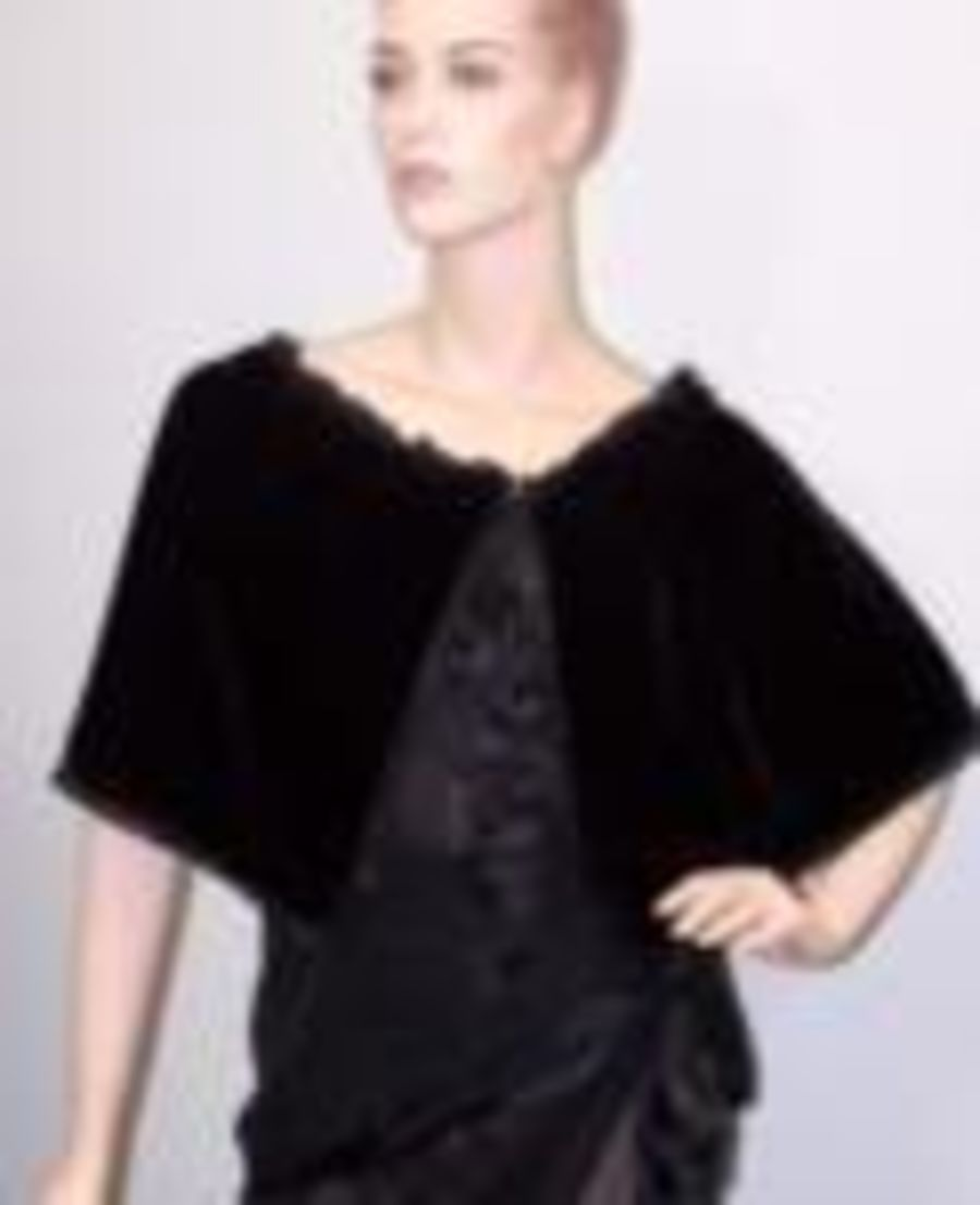 Bella Terra Black Velvet Mystical Ruffle Gothic Cloak