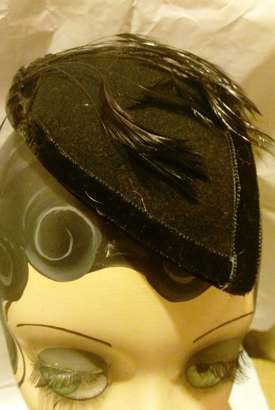 Black Felt with Velvet Trim and Feathers Facinator
