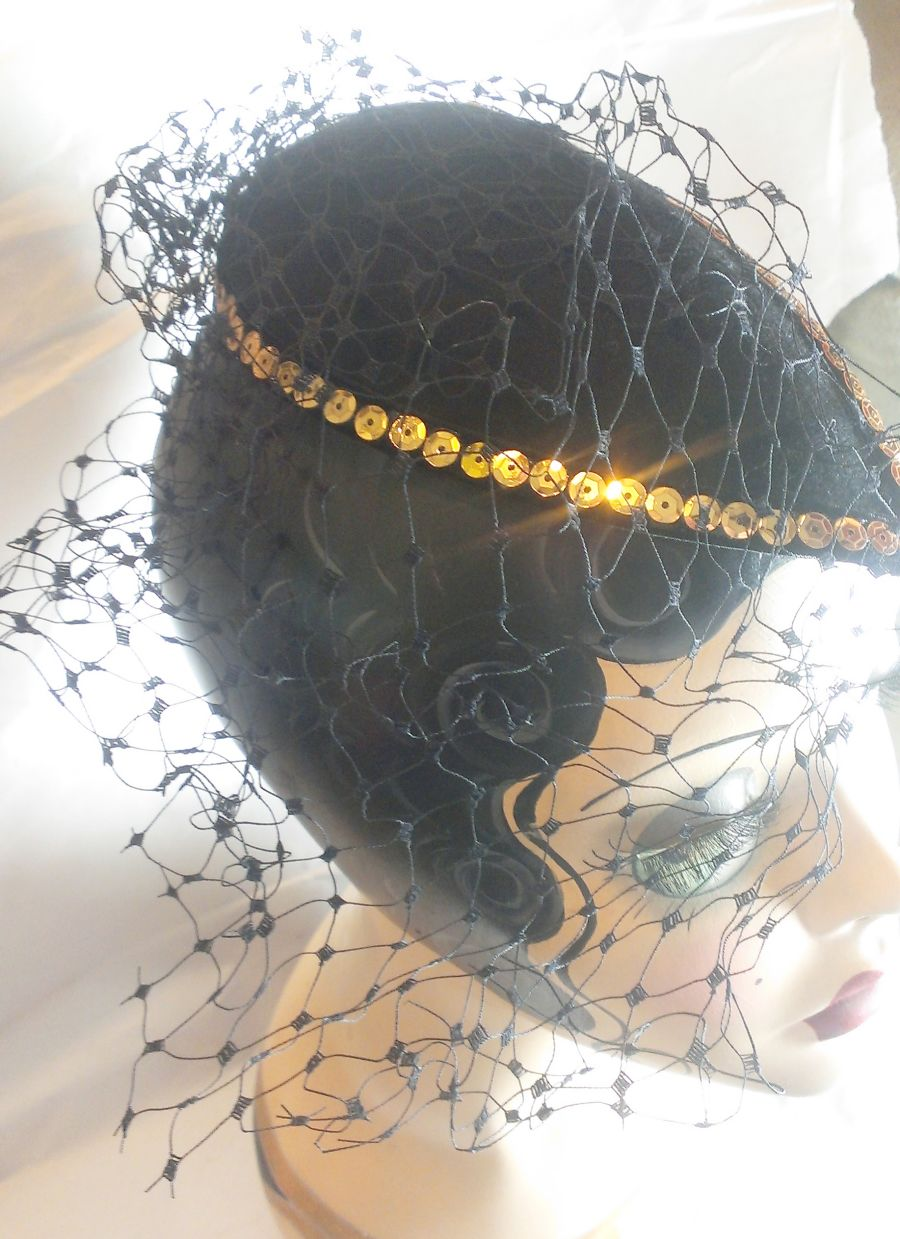 Felt Teardrop Gold Sequin Net Veil Fascinator