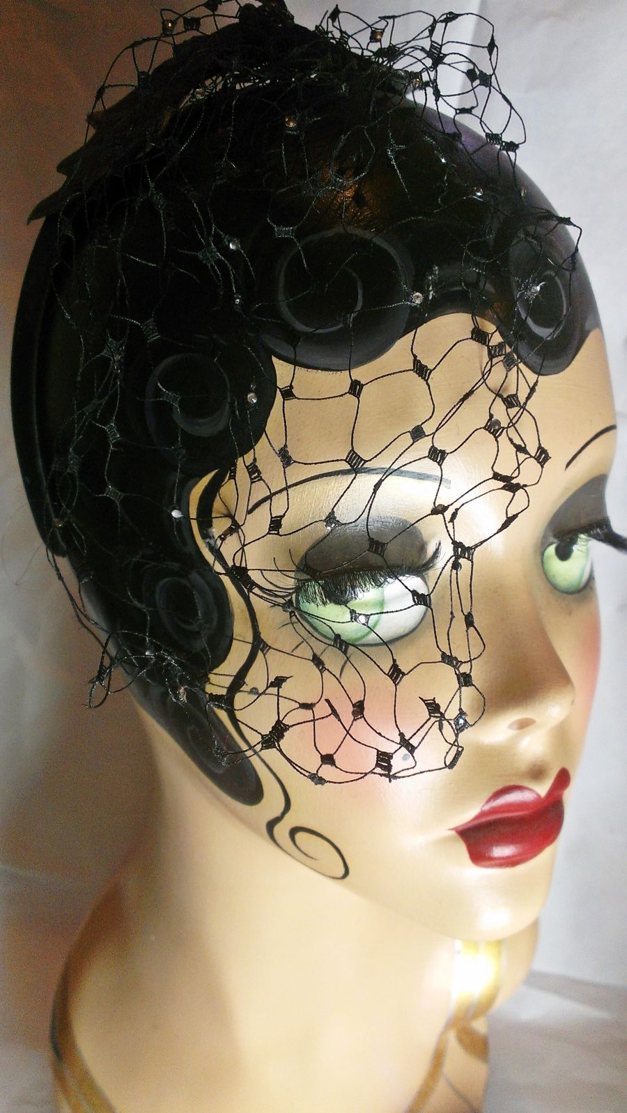 Bat Headband Net Veil with Diamante Facinator