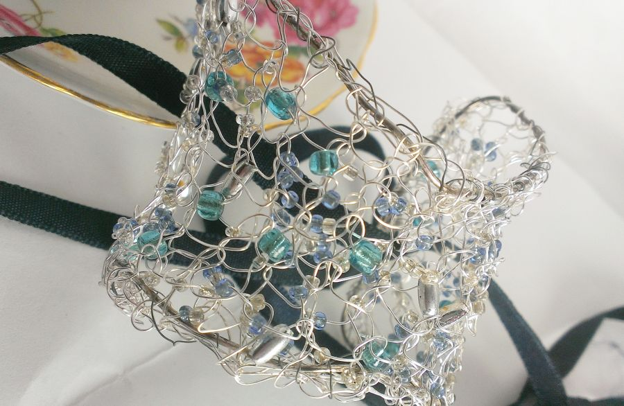 Silver Knit Cuff Beaded With Icey Beads