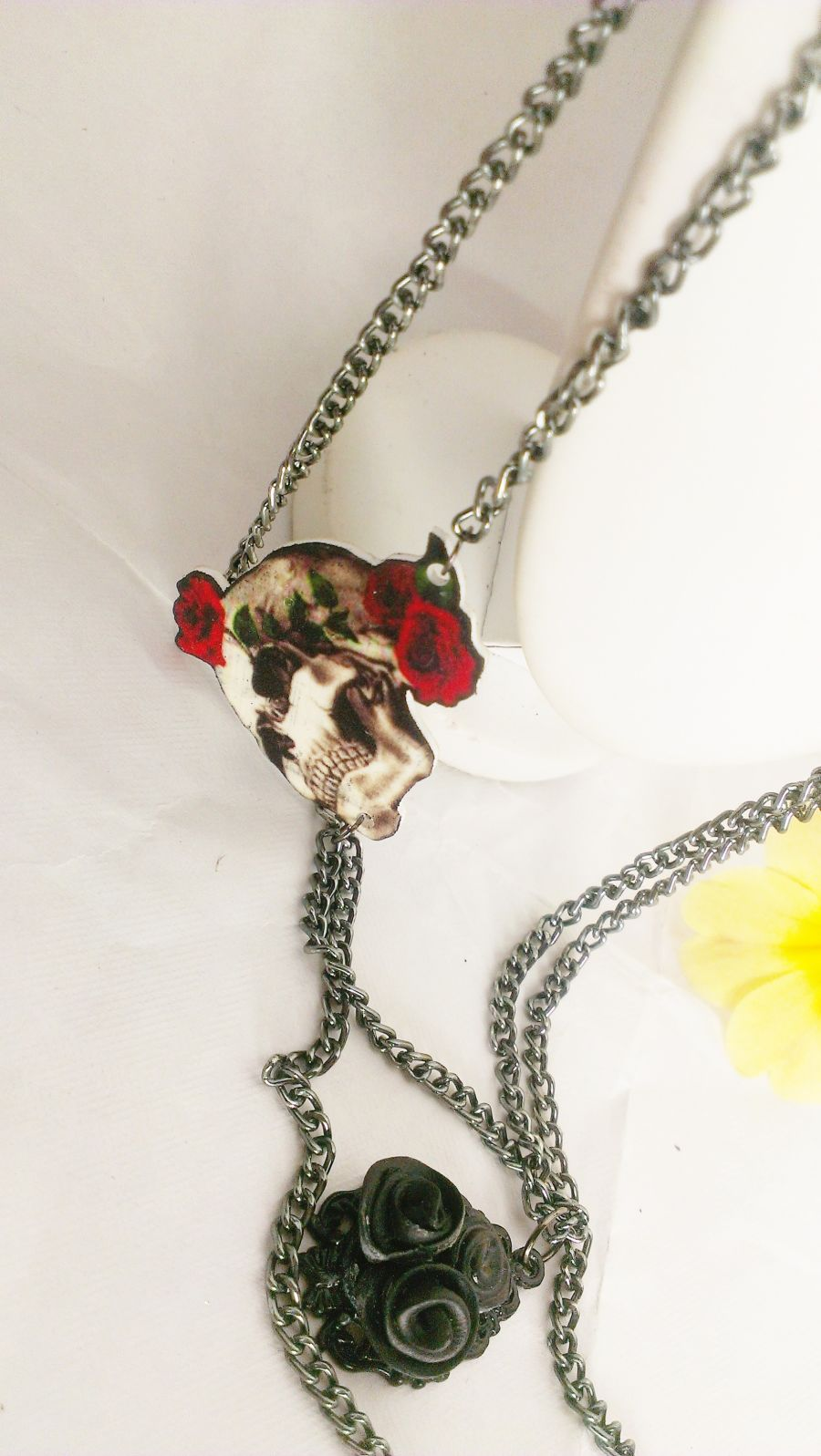 Skull and Roses Double Chain Necklace