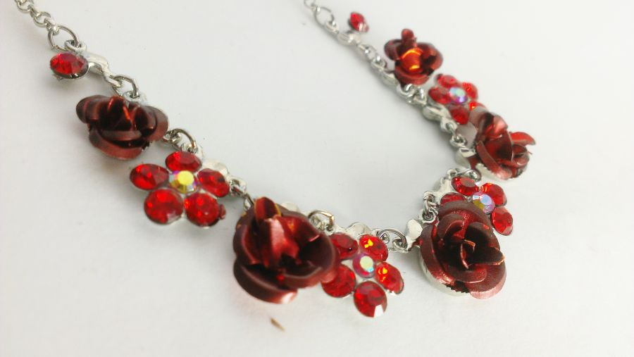Red or Black Rose Sparkle Charm Necklace