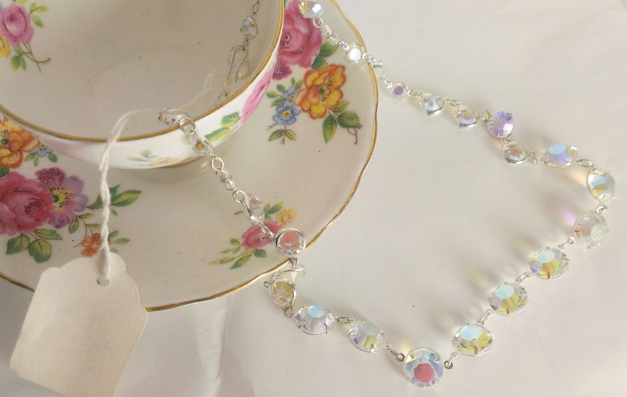 Czech Glass Rainbow vintage style necklace