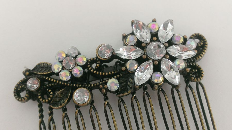 Pair Of Antique Bronze Crystal Flower Hair Combs Grips