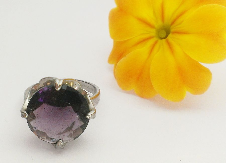 Purple Faceted Glass Costume Ring size P
