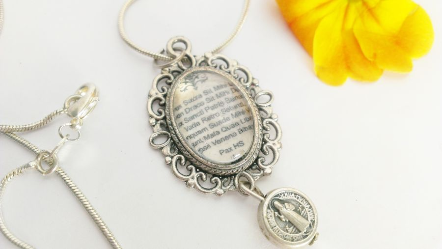 St Benedict Prayer Protection Pendant And Medal on 925 chain