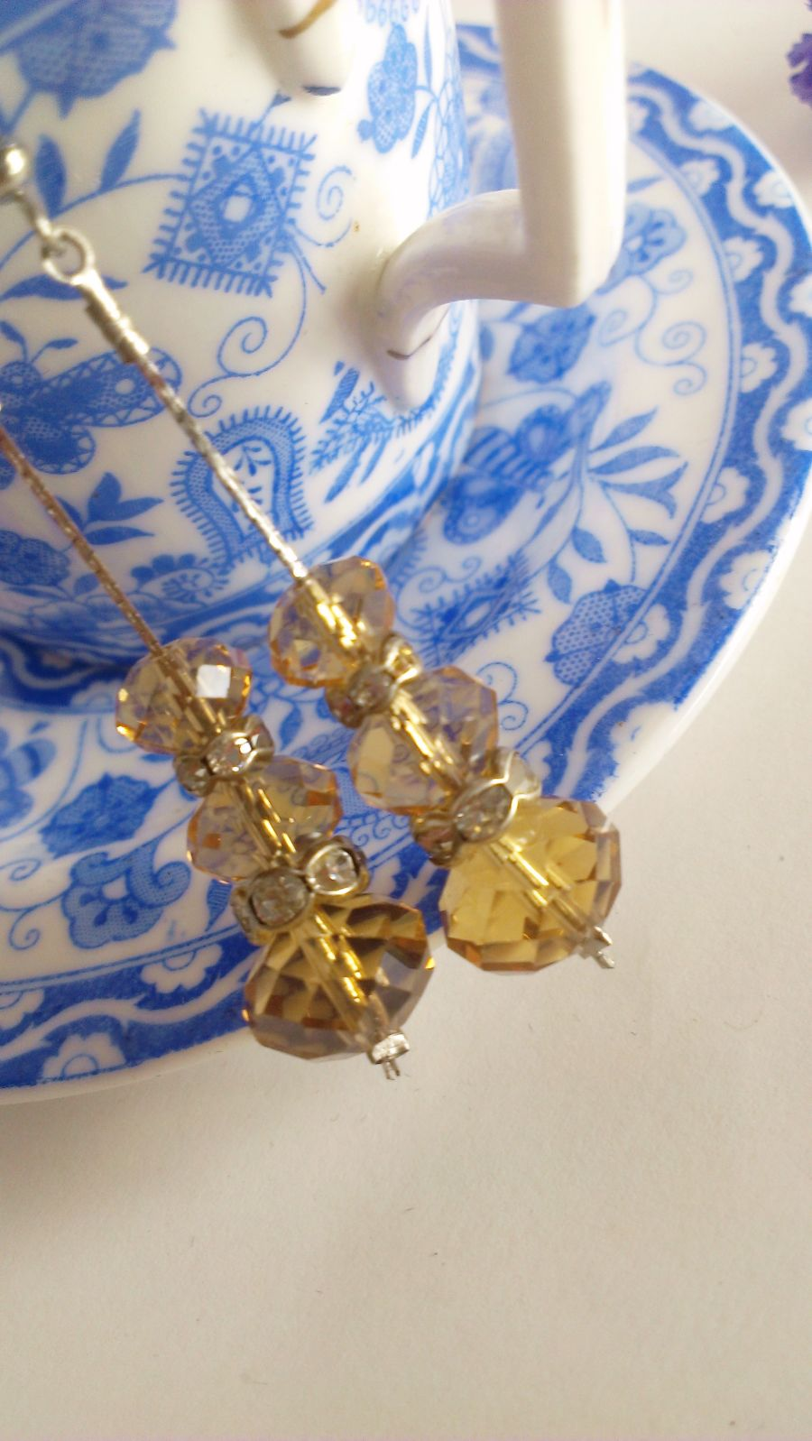 Amber Faceted Crystal Drop Earrings