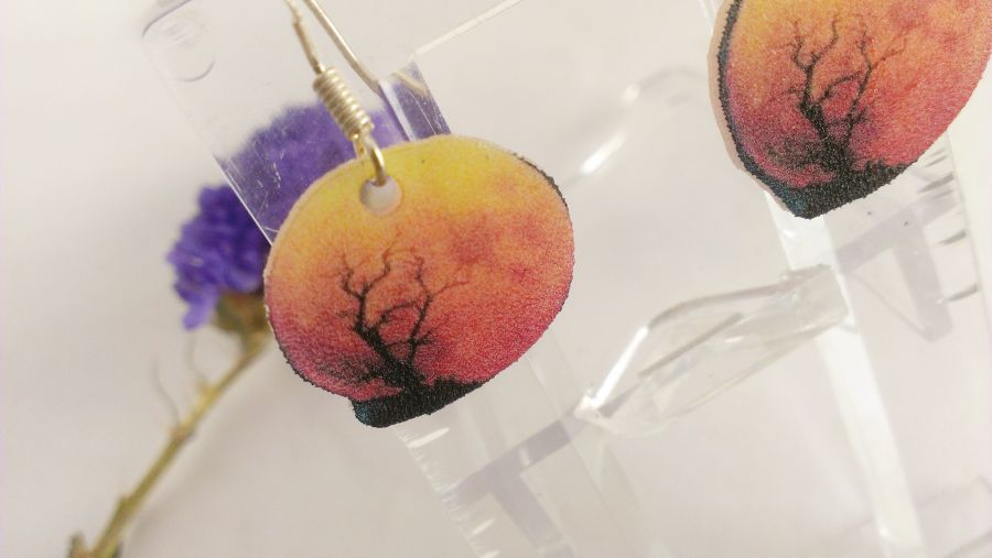 Sunset Spooky Tree 925 hooks drop earrings