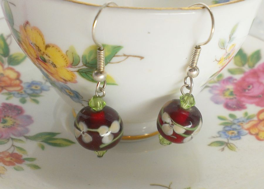Cherry Red Glass Drop Earrings