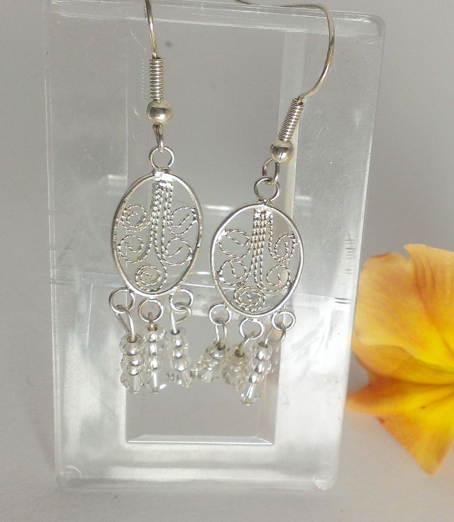 Boho Silver Plate Oval Design with Crystal Dangles Earrings