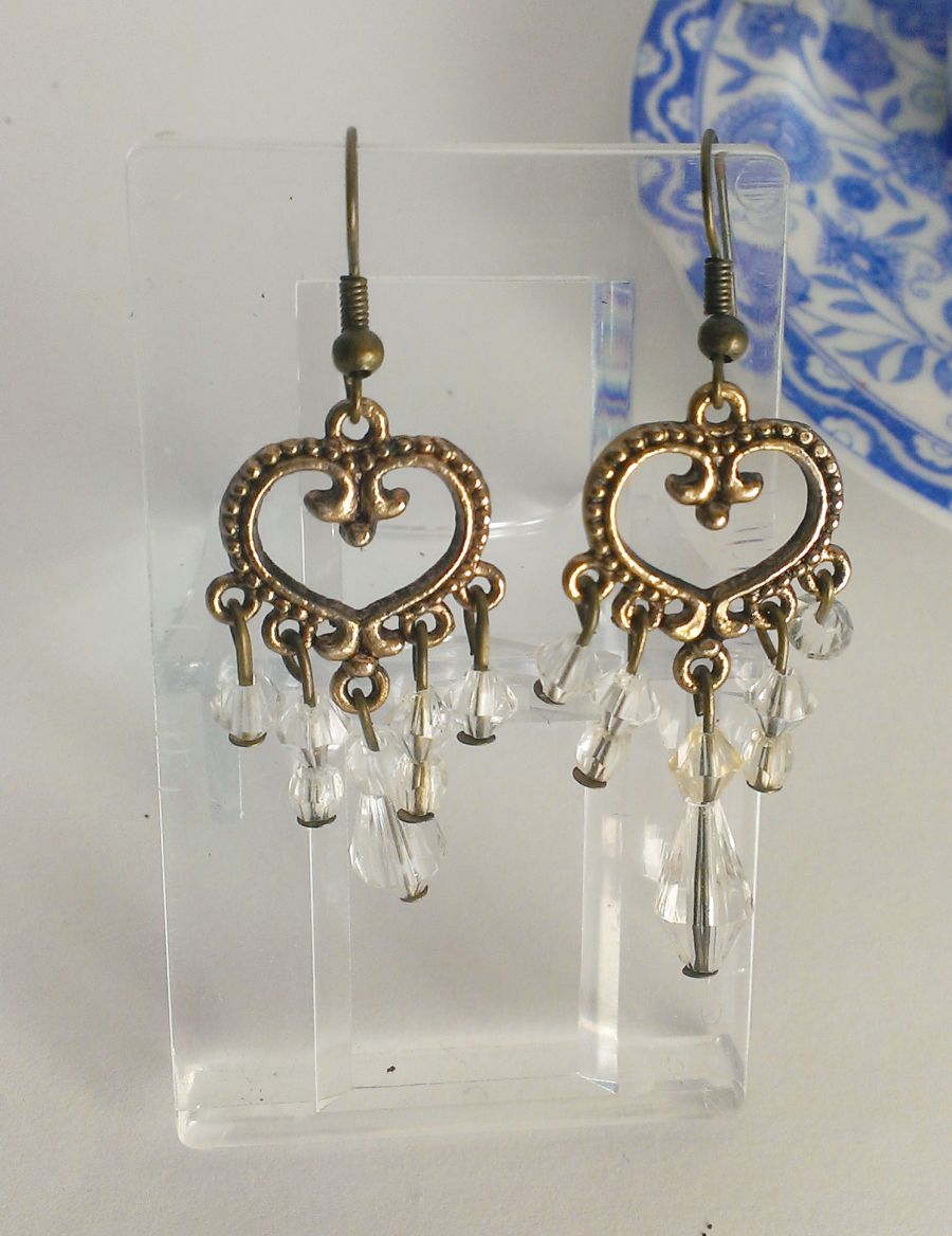 Boho Antique Bronze Clear Faceted Beaded  Drop Earrings