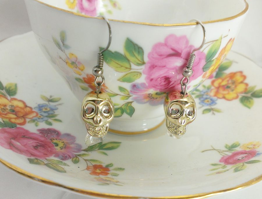 Skull With Clear Quartz Crystal Drop Earrings