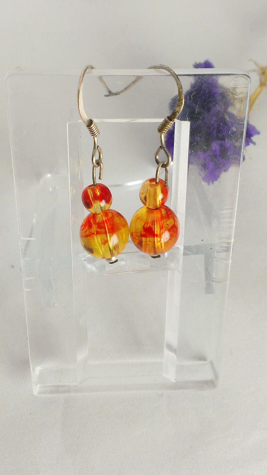 Faux Amber Drop Earrings