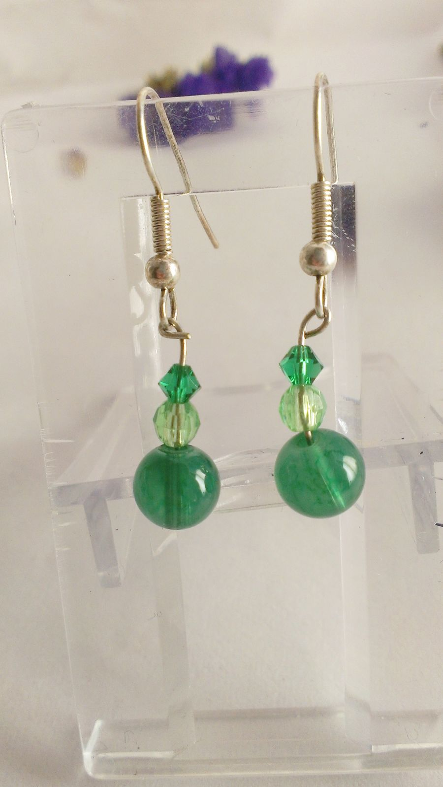 Green Beaded Crystal Drop Earrings