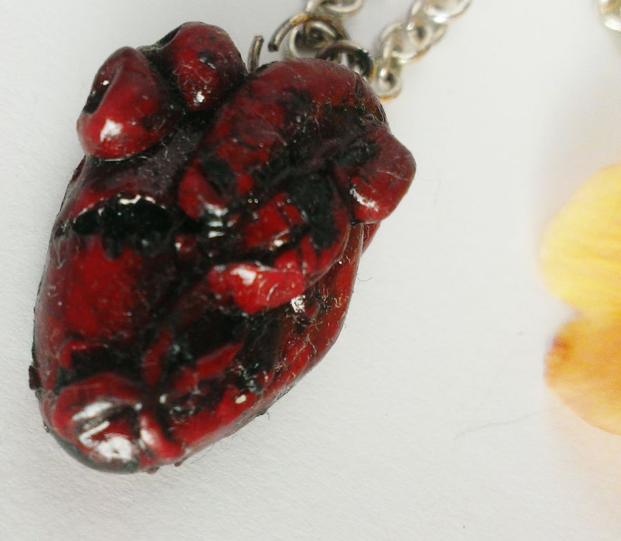 Anatomically Correct Sculpted Heart Pendant Necklace