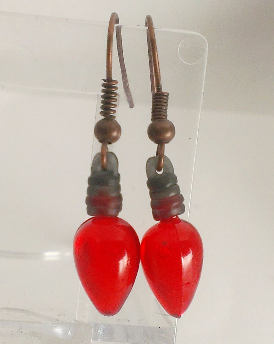 Red Fairy Lights Drop Earrings (they do not light up)
