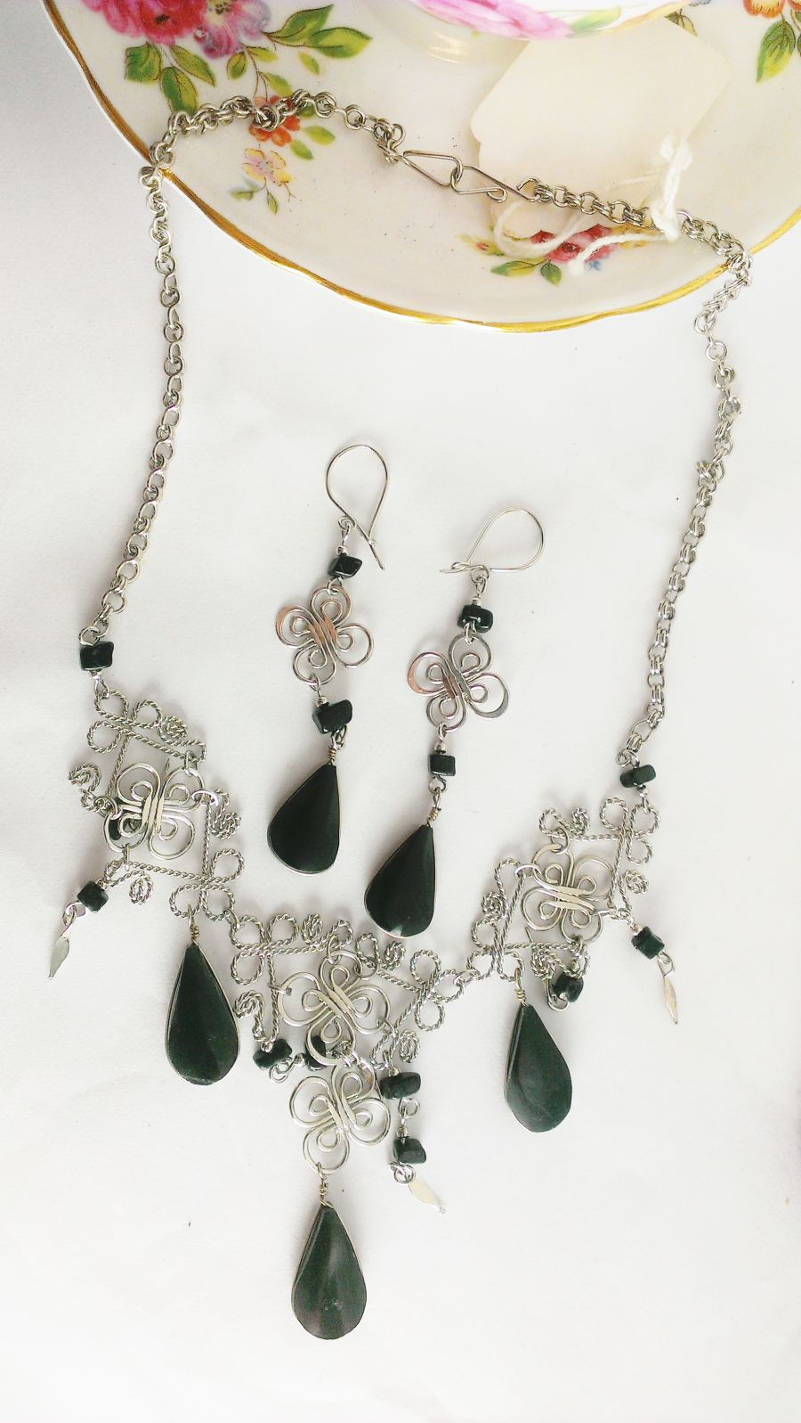 Black Agate Necklace Choker And Drop Earring Set