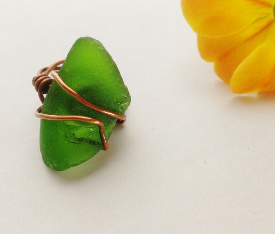 Seaglass Copper Wire Wrap Ring Size F