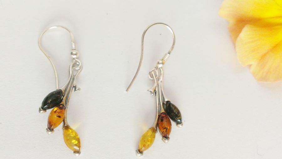 Genuine Baltic Amber Sterling Silver Drop Earrings