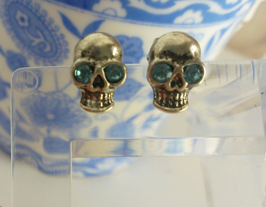 Skull Stud Earrings With Blue Crystal Eyes