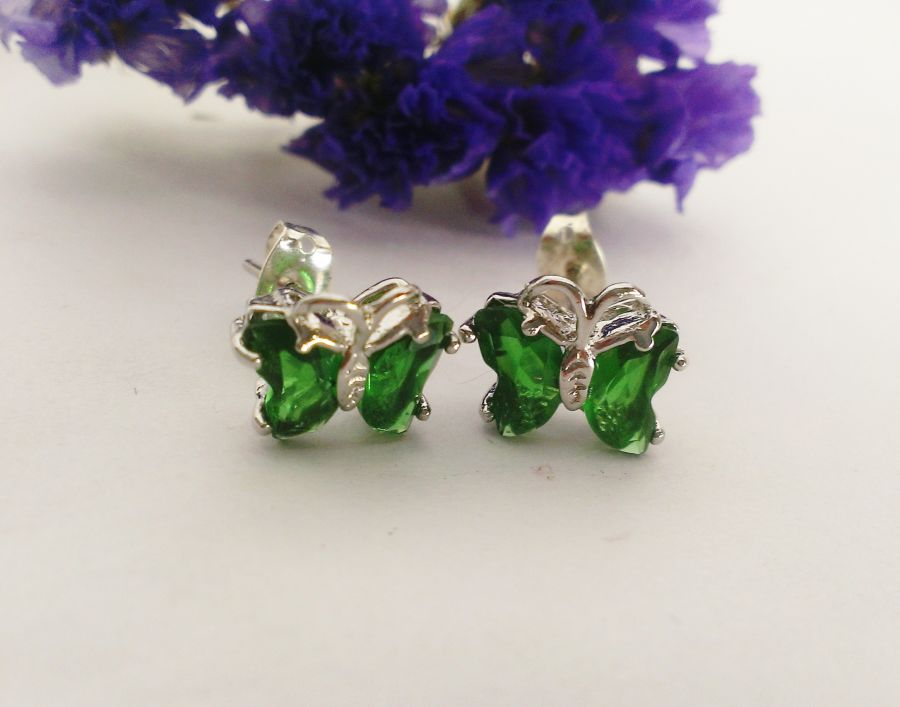 Emerald Green Glass Butterfly Studs