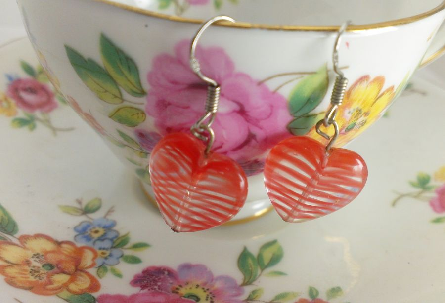 Retro Glass Heart Drop Earrings 925 Hooks