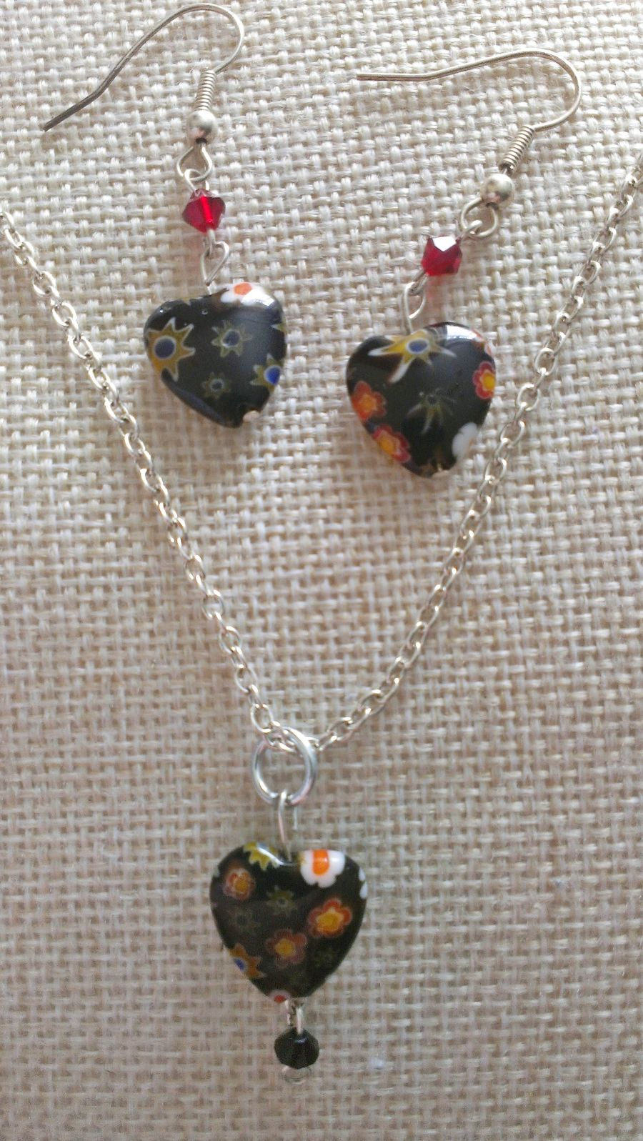 Millefiori Black Glass Heart Pendant And Drop Earring Set
