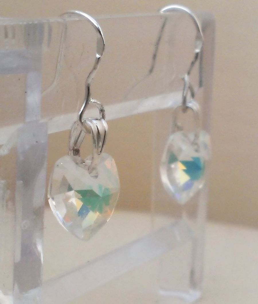 AB Faceted Crystal Glass Heart Drop Earrings On 925 Hooks