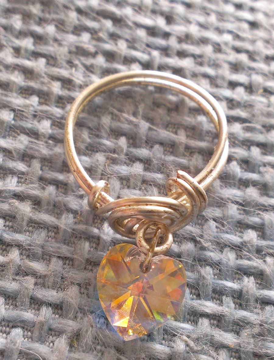 Boho Charm Heart AB Crystal Dangle Ring Size P