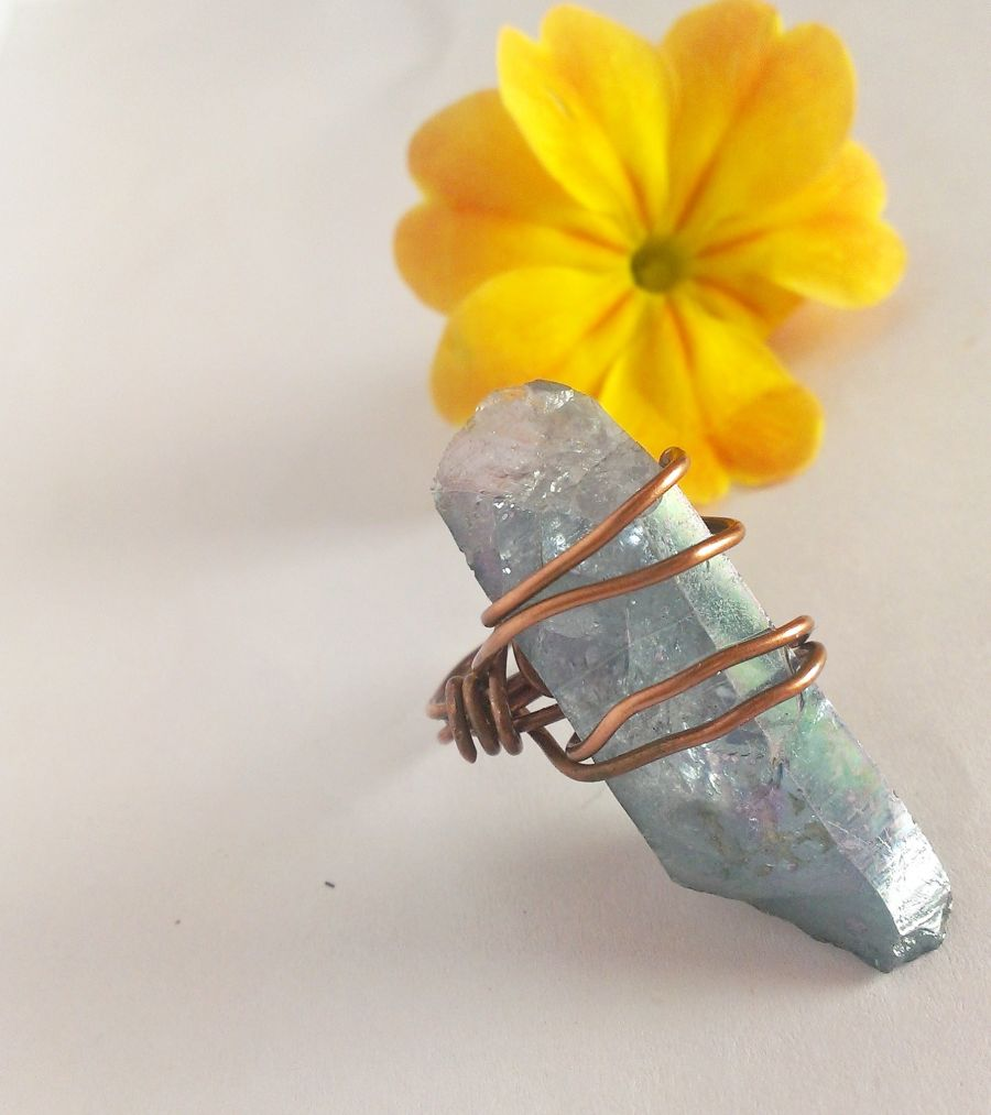 Aqua Aura Crystal Copper Wire Wrap Ring Size E