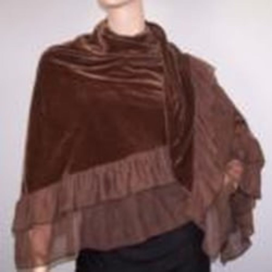 Brown Velvet Boho Goth Shawl Cape Wrap