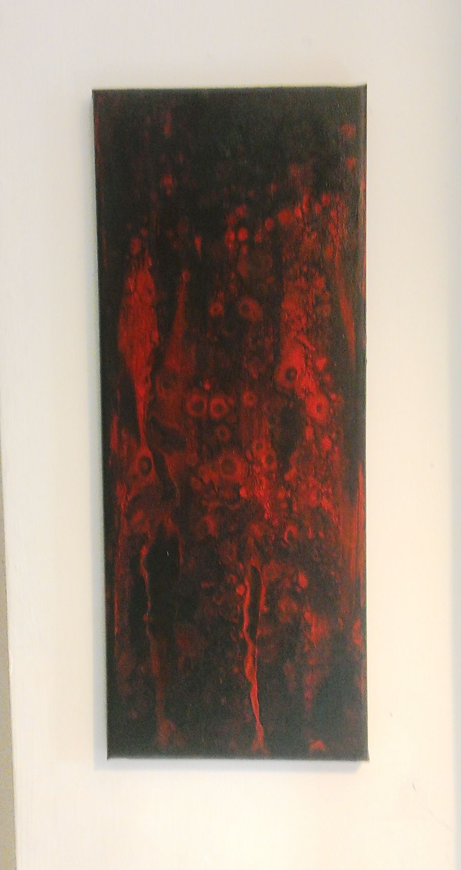 Acrylic Red On Black Cell Fluid Abstract Painting Gothic Size: 8x30 inches