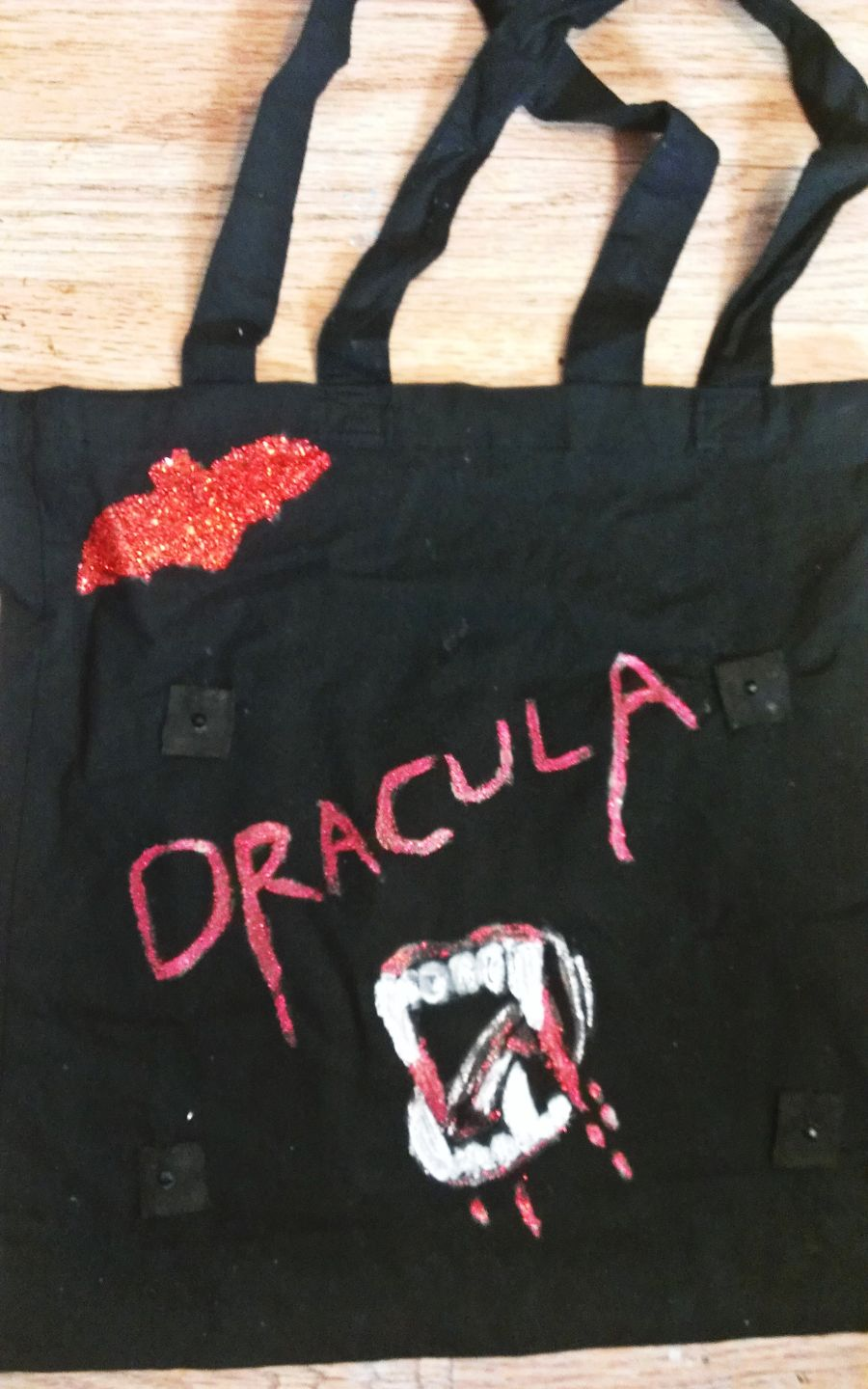 Black Canvas Dracula Design Front Bag