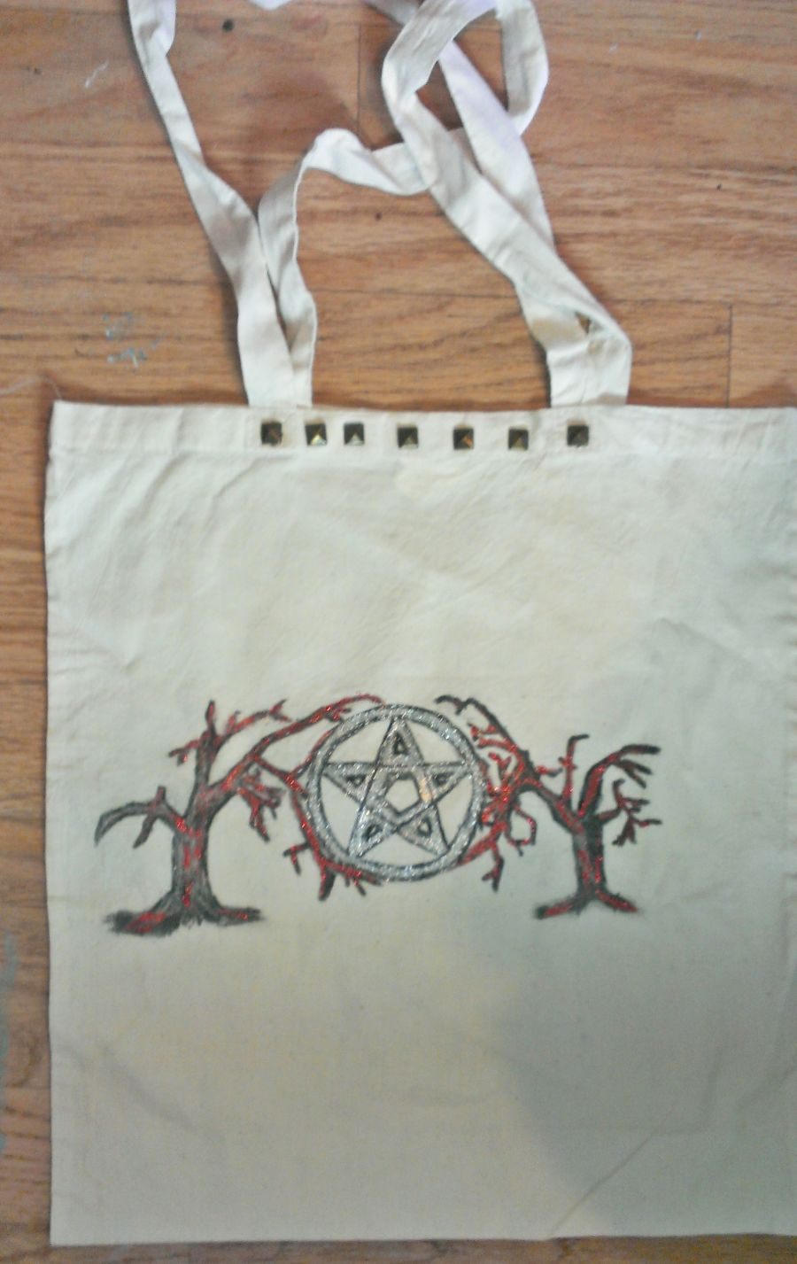 Witchy Pentagram Cotton Tote Bag