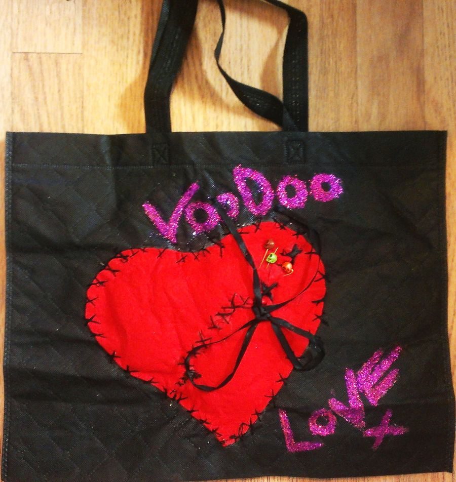 Voodoo You Do Heart Black Tote