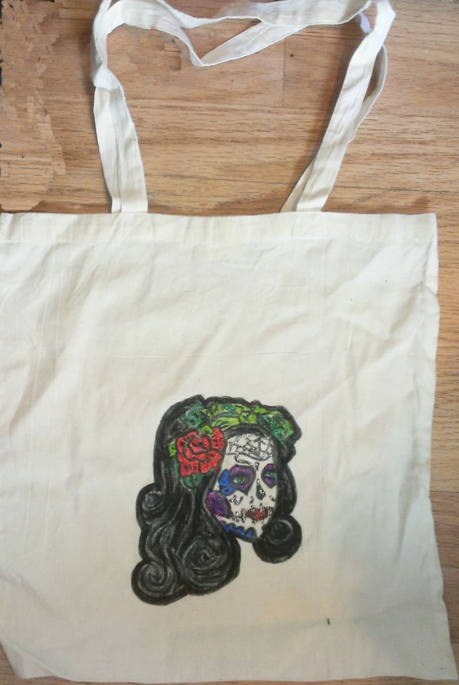 Zombie Day Of The Dead Sparkle Lady Hand Drawn Tote Bag