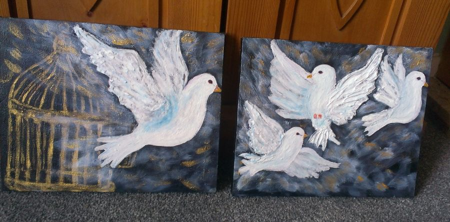 3d Doves 'Freedom' Original Painting