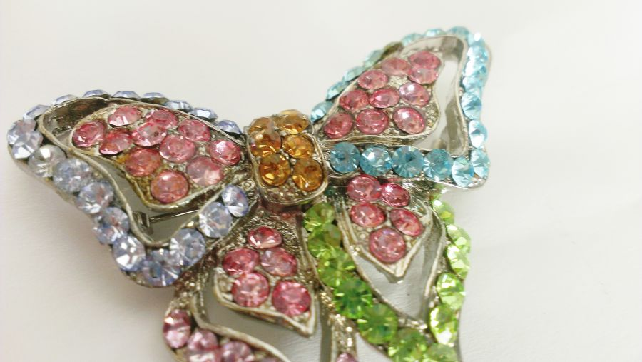 Butterfly Diamante Brooch Pin