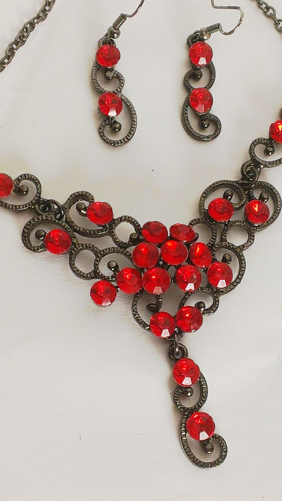Gothic Red Crystal Necklace Earring Set