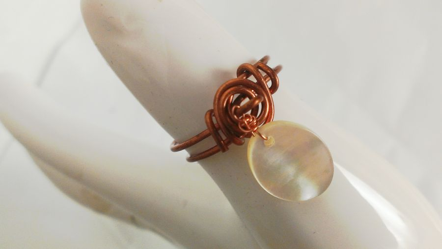 Midi Copper Charm Ring With Mother Of Pearl Festival Season Size o